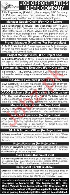 Elite Engineering Pvt Ltd Jobs 2019 in Lahore