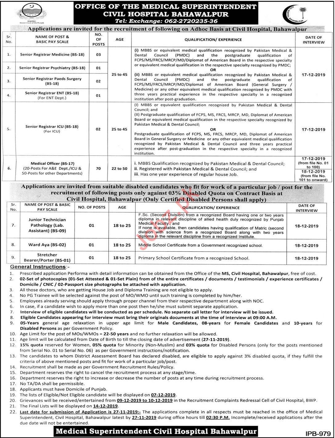 Civil Hospital Jobs 2019 in Bahawalpur