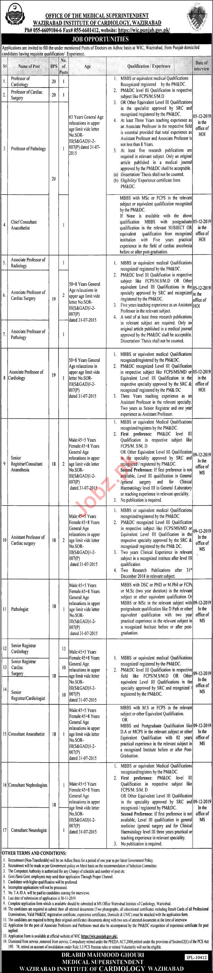Wazirabad Institute of Cardiology Medical Faculty Jobs 2019