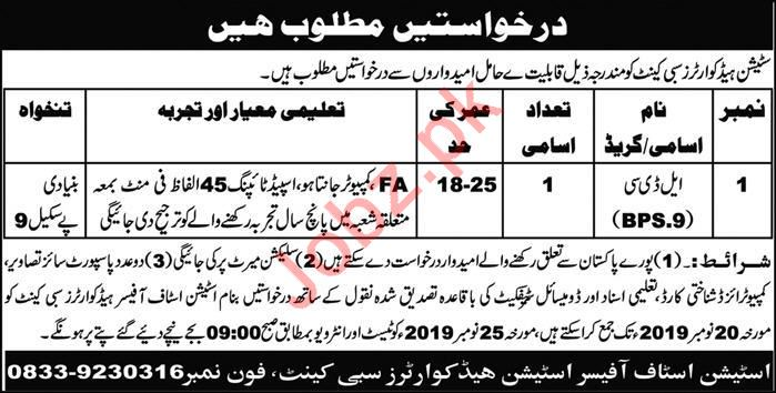 Station Headquarters Sibi Cantt Jobs 2019