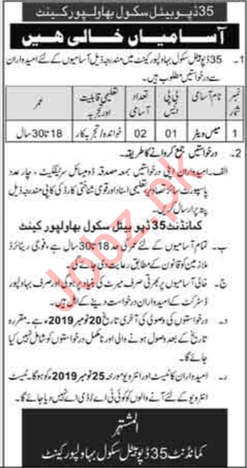 Army Public School Bahawalpur Cantt Job 2019