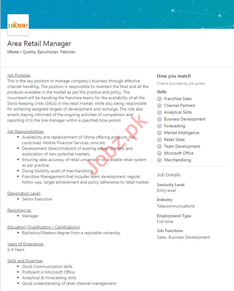 Area Retail Manager Job 2019 For Quettta Balochistan