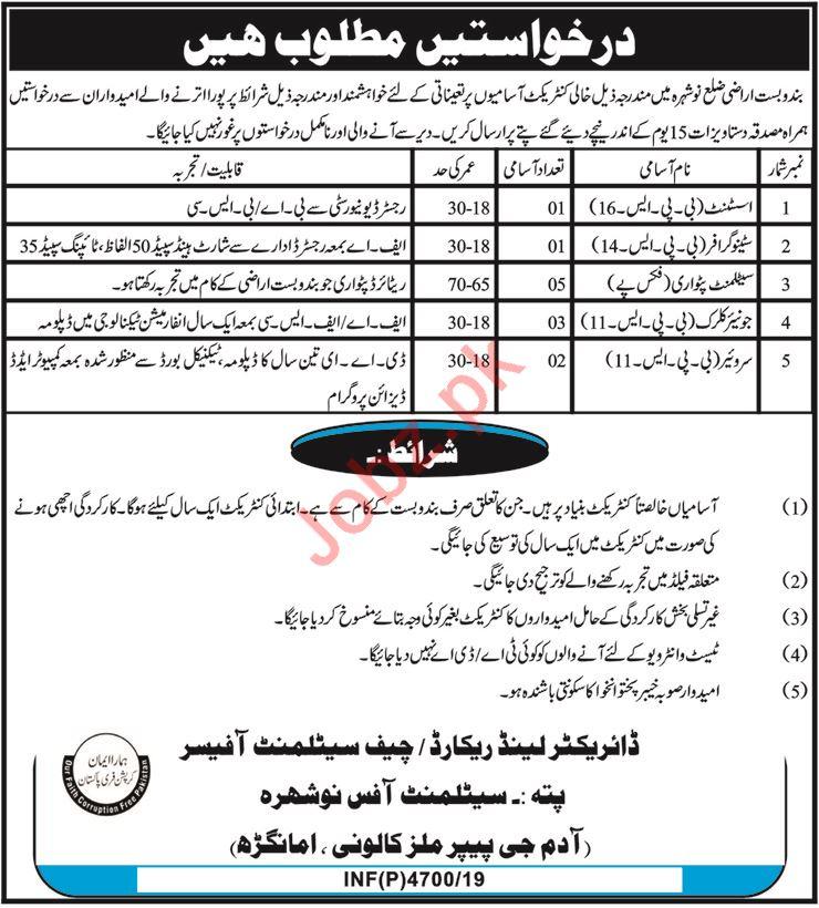 Settlement Office Jobs 2019 in Nowshera KPK