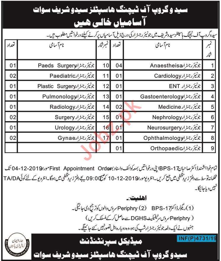 Saidu Group of Teaching Hospitals Jobs 2019 in Swat KPK