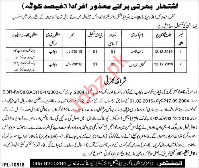 Livestock & Dairy Development Department Khanewal Jobs