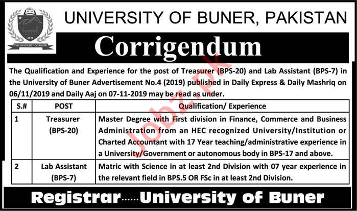 Treasure Jobs in University of Buner