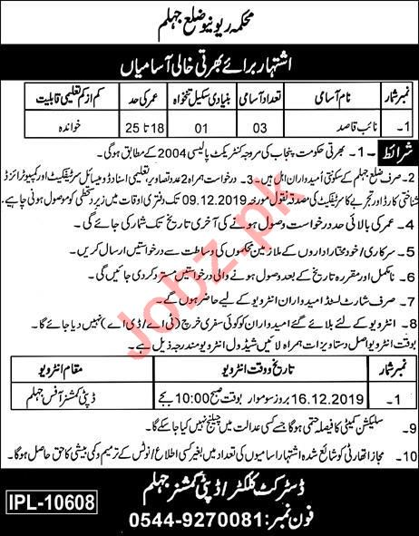Revenue Department District Jhelum Jobs for Naib Qasid