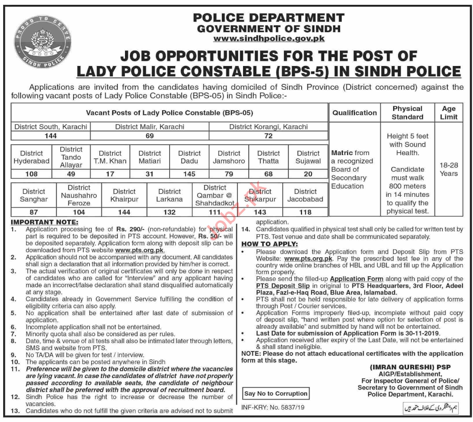 Sindh Police Jobs 2019 for Lady Constables