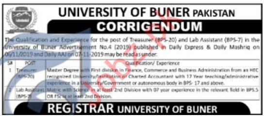 University of Buner Jobs For Treasurer & Lab Assistant