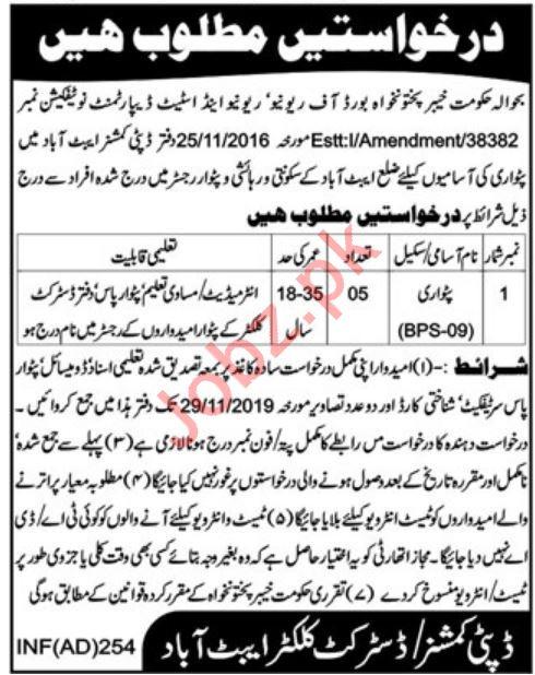 Revenue And Estate Department Jobs in Abbottabad KPK