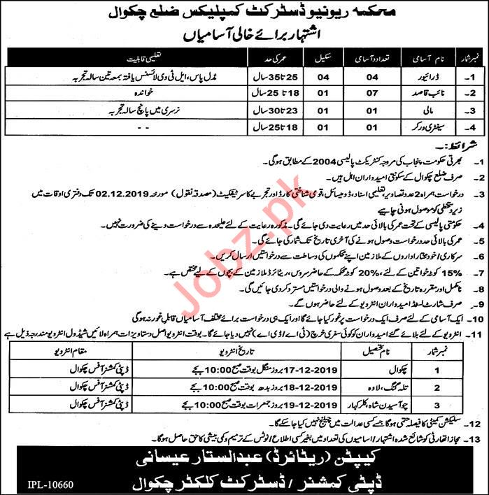 Revenue Department Jobs 2019 in Chakwal