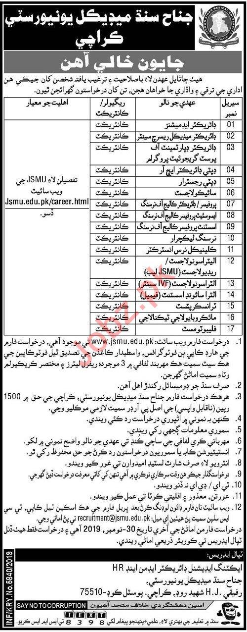 JSMU University Karachi Jobs 2019 for Director & Professors