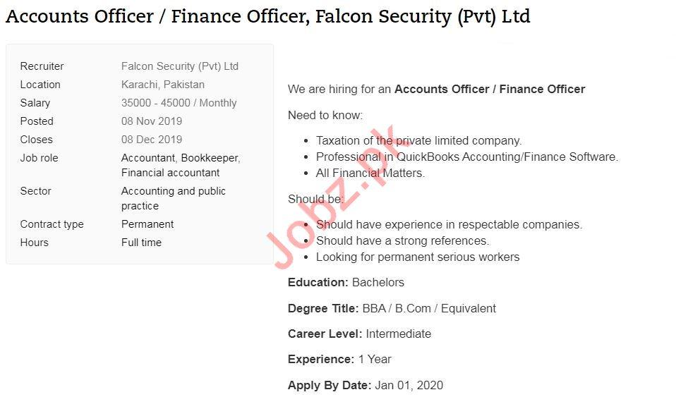 Accounts Officer & Finance Officer Jobs in Karachi