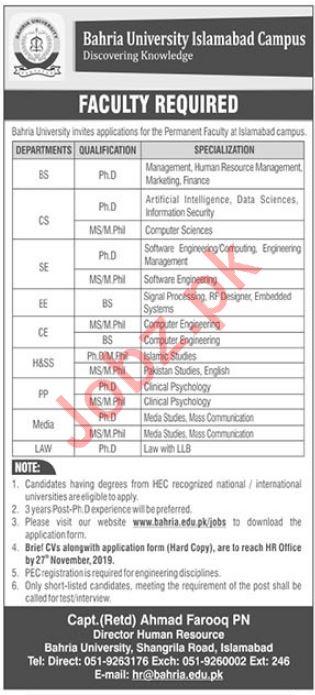 Bahria University Islamabad Campus Faculty Jobs 2019