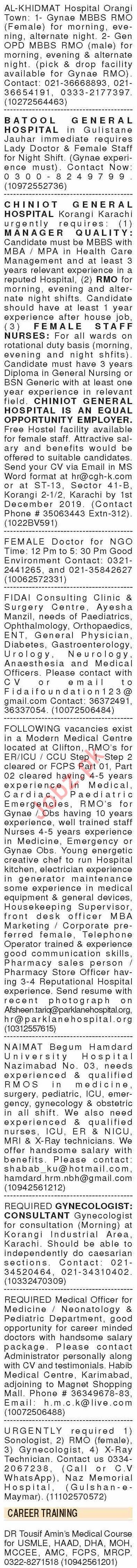 Dawn Sunday Classified Ads 17th Nov 2019 for Medical Staff