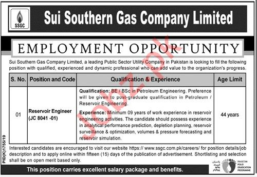 Sui Southern Gas Company Limited Job For Reservoir Engineer