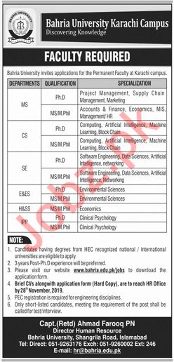 Bahria University Teaching Staff Jobs For Karachi Campus