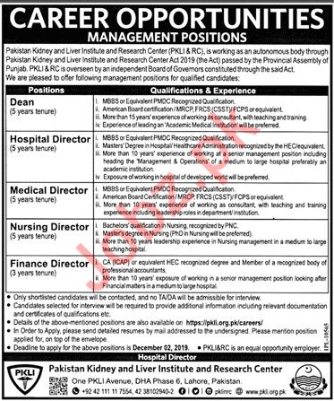 Pakistan Kidney And Liver Institute And Research Centre Jobs