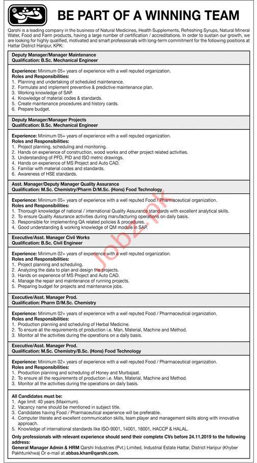Qarshi Industries Pvt Limited Jobs 2019 in Haripur KPK
