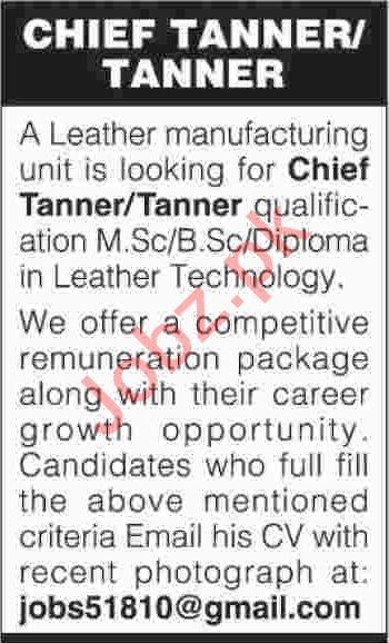 Chief Tanner Jobs 2019 in Karachi