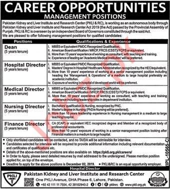 Pakistan Kidney & Liver Institute Research Center Jobs 2019