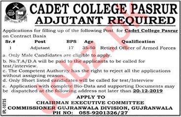 Cadet College Pasrur Sialkot Jobs 2019
