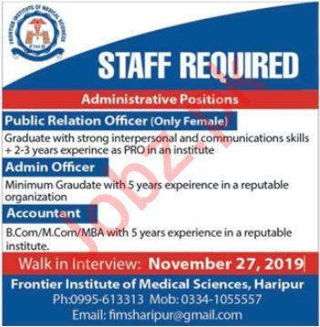Frontier Institute Of Medical Sciences Jobs in Haripur