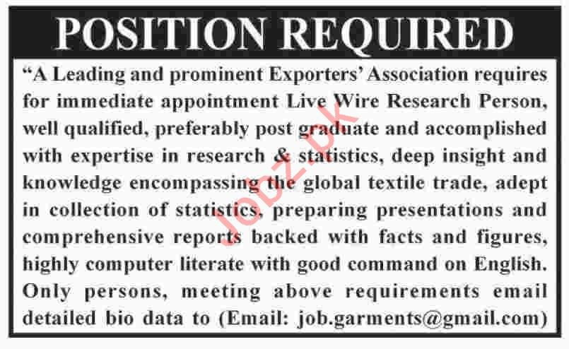 Live Wire Research Person Jobs 2019 in Karachi