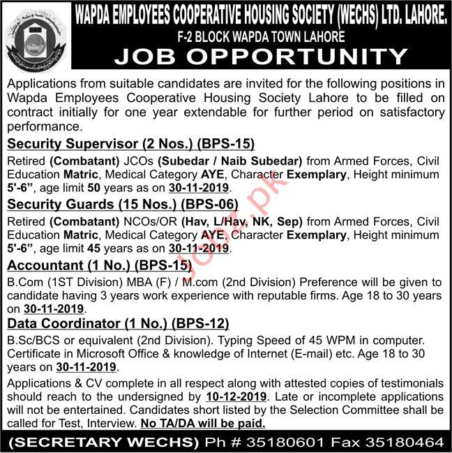 Wapda Employees Cooperative Housing Society Ltd Lahore Jobs