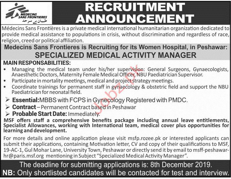 Medecins Sans Frontieres MSF Peshawar Jobs