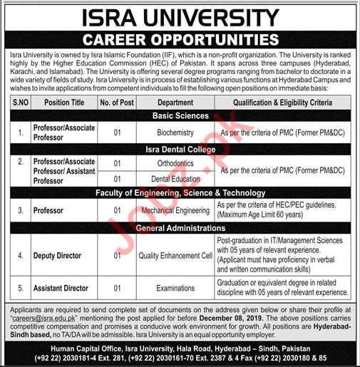 Isra University Jobs 2019 in Hyderabad