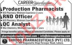 Shrooq Pharmaeuticals Pvt Ltd Jobs 2019 in Lahore