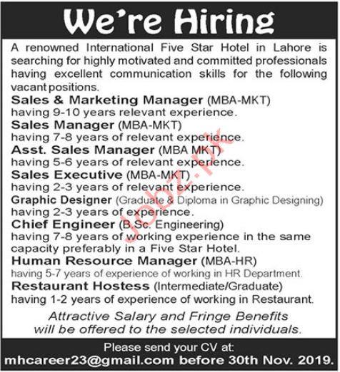 Five Hotel Jobs in Lahore