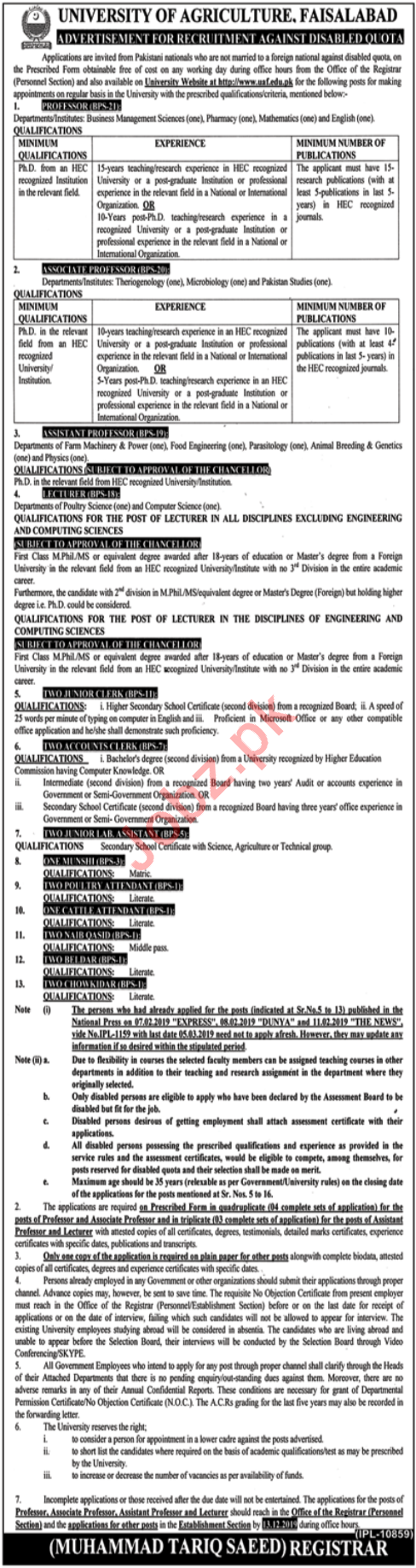 University of Agriculture Jobs 2019 in Faisalabad