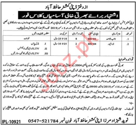 Deputy Commissioner Office Jobs 2019 in Hafizabad