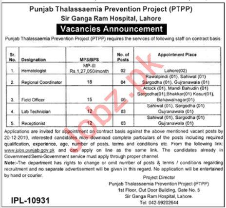 Punjab Thalassaemia Prevention Project PTPP Jobs 2019