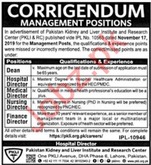 Pakistan Kidney, Liver Institute & Research Centre Jobs 2019