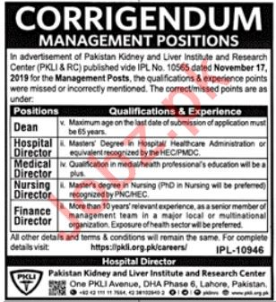 Pak Kidney, Liver Institute & Research Centre Jobs in Lahore
