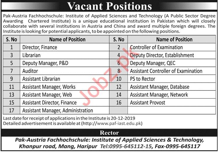 Pak Austria Fachhochschule PAF IAST Jobs in Haripur KPK