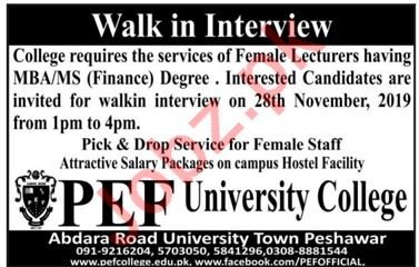 PEF University College Walk In Interviews 2019