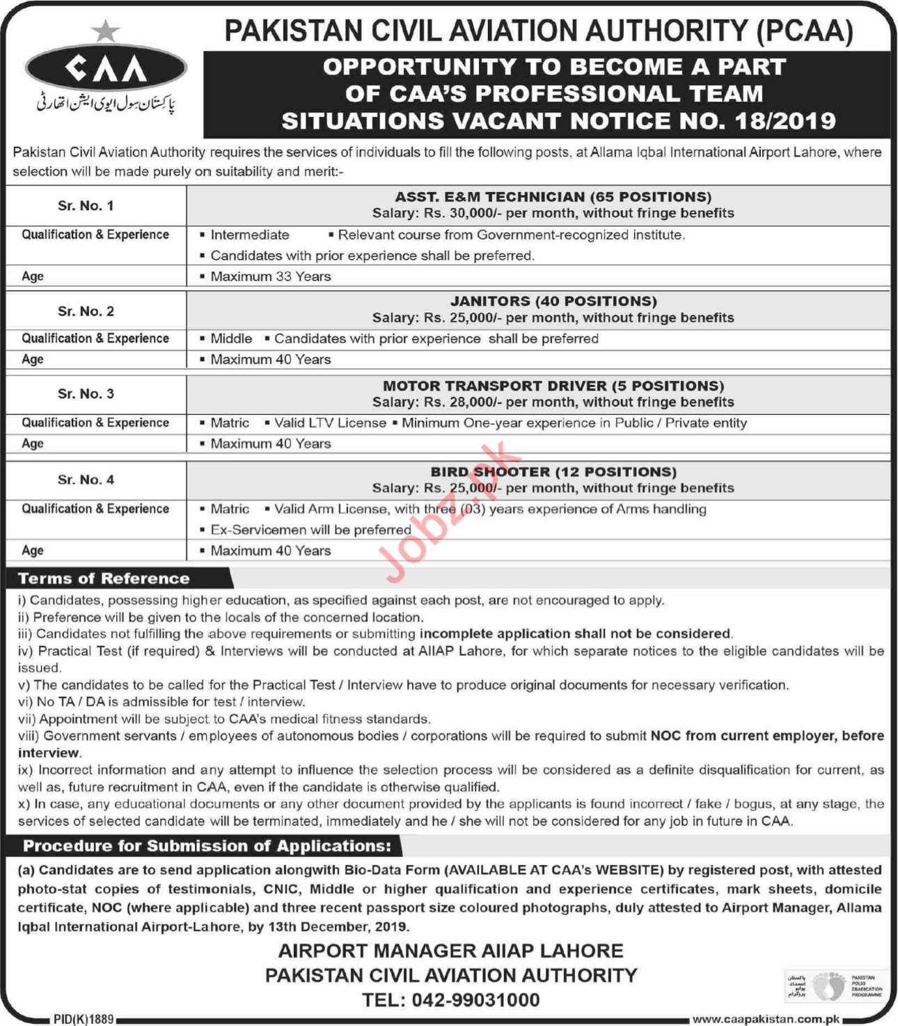 Allama Iqbal International Airport Lahore Jobs 2019
