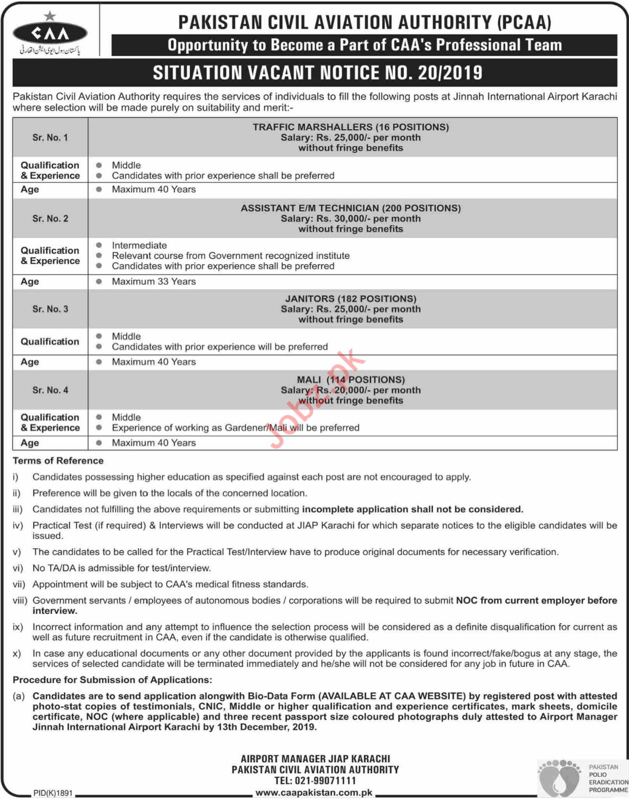 Jinnah International Airport Karachi Jobs 2019