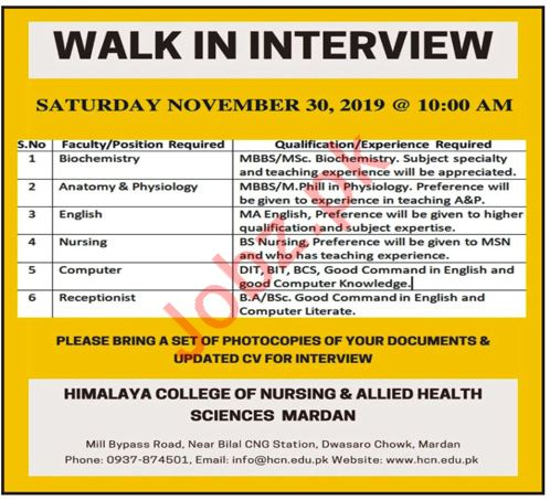 Himalaya College of Nursing & Allied Health Sciences Jobs