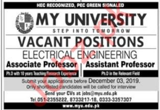 My University Electrical Engineer & Professor Jobs 2019