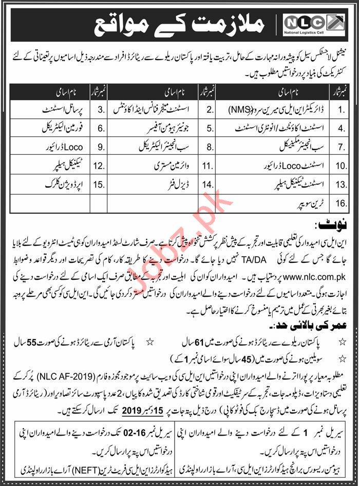 National Logistics Cell NLC Jobs 2019 In Rawalpindi