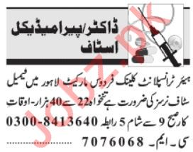 Hair Transplant Clinic Jobs For Staff Nurses in Lahore