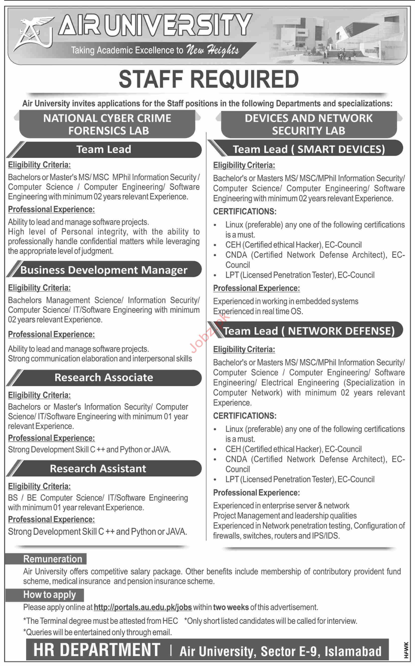 Air University Islamabad Jobs 2019