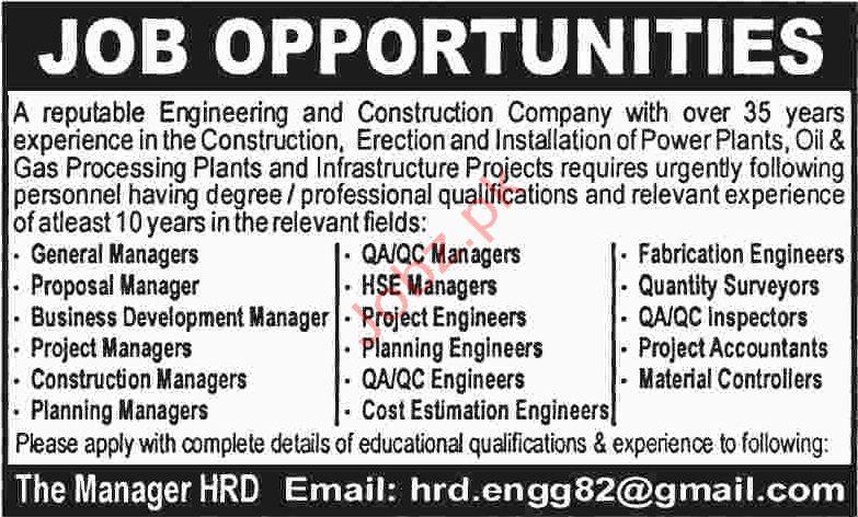 Engineering & Construction Company Jobs in Karachi