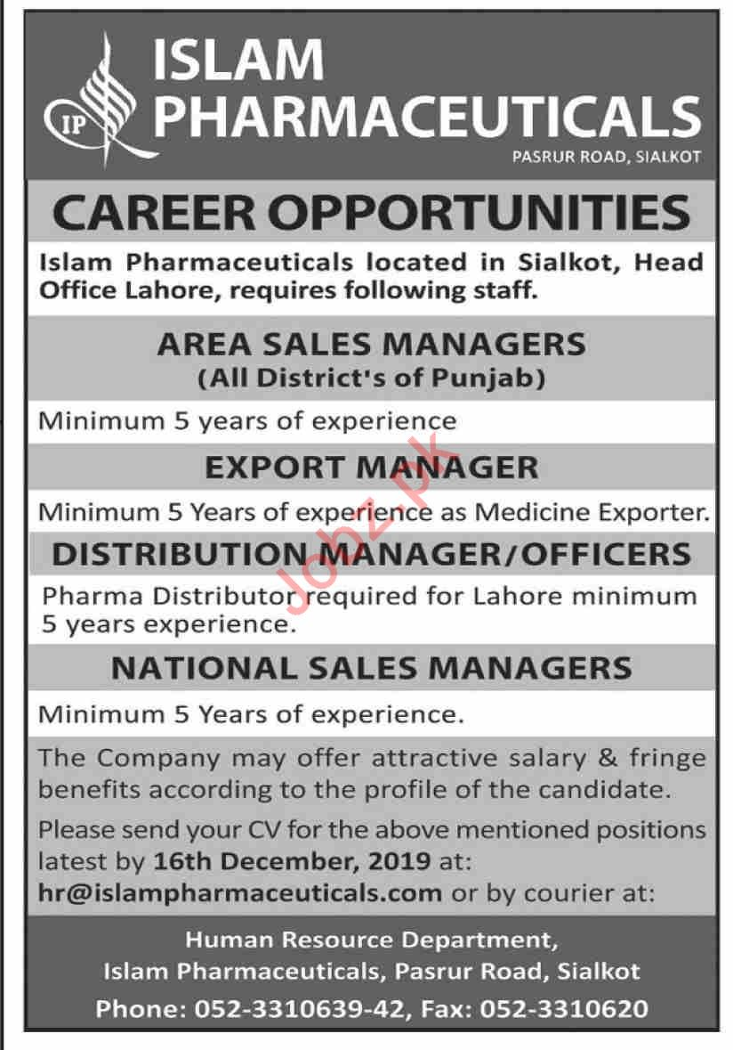 Islam Pharmaceuticals Sales Manager Jobs 2019