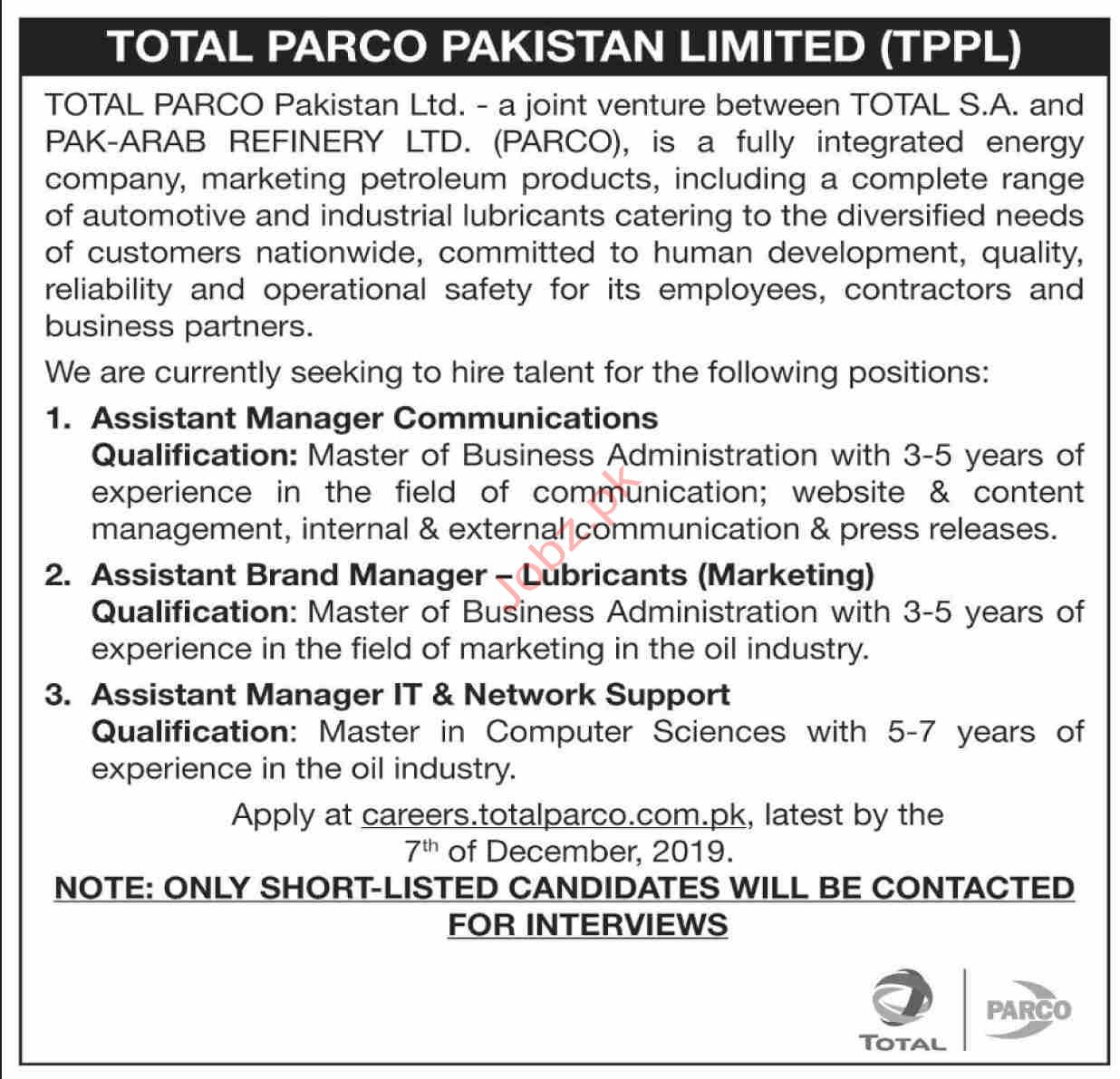 Total PARCO Pakistan Limited TPPL Karachi Jobs 2019